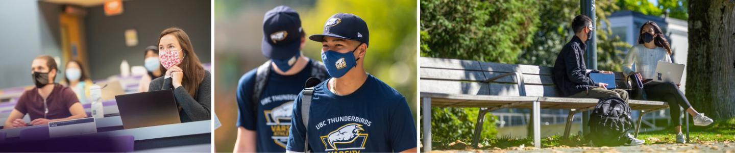 Three images of masked students on campus talking or engaging in a town hall